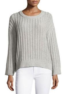 Michael Kors Long-Sleeve Knit Sweater, Pearl Gray