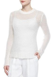 Michael Kors Long-Sleeve Loose-Knit Mohair-Blend Sweater, White