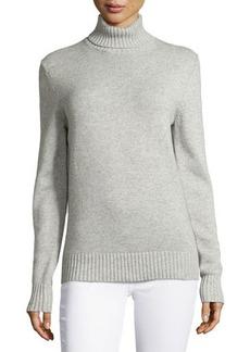 Michael Kors Long-Sleeve Ribbed-Hem Sweater, Pearl Gray