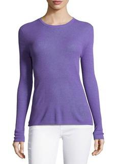 Michael Kors Long-Sleeve Ribbed Top, Hyacinth