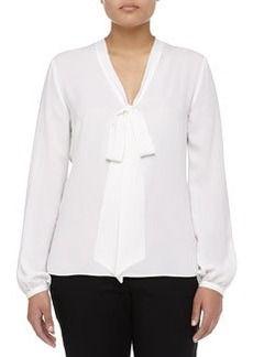Michael Kors Long-Sleeve Self-Tie Georgette Blouse, Women's