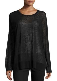 Michael Kors Long-Sleeve Sheer Knit Top, Black