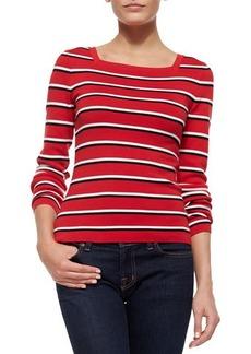 Michael Kors Long-Sleeve Stripe Top, Crimson Multi