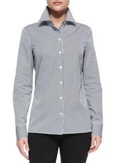 Michael Kors Long-Sleeve Striped Poplin Shirt, Midnight/Optic White