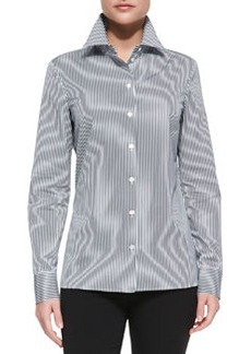 Michael Kors Long-Sleeve Striped Poplin Shirt, Midnight/Optic White