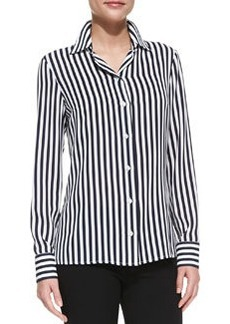 Michael Kors Long-Sleeve Striped Silk Shirt, Midnight/White