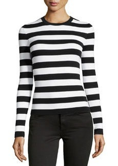 Michael Kors Long-Sleeve Striped Top, Black