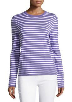 Michael Kors Long-Sleeve Striped Top, Hyacinth/White
