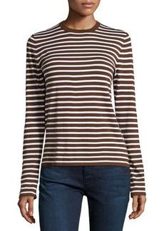 Michael Kors Long-Sleeve Striped Top, Nutmeg/White
