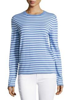 Michael Kors Long-Sleeve Striped Top, Oxford/White