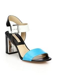 Michael Kors Lorah Leather Mid-Heel Sandals