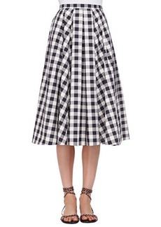Michael Kors Macro Gingham Midi Skirt, Black/Muslin