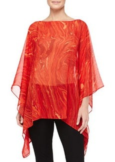 Michael Kors Marble On Chiffon Poncho Top, Coral