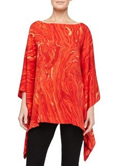 Michael Kors Marble On Crepe Poncho Top, Coral