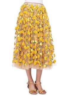 Michael Kors Marigold Embroidered Tulle Skirt, Suntan/Daffodil