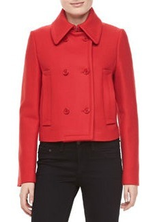 Michael Kors Melange Wool Double-Breasted Coat, Crimson