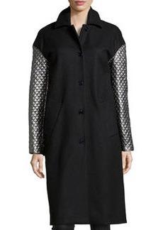 Michael Kors Melton Metallic-Quilted-Sleeve Coat, Black