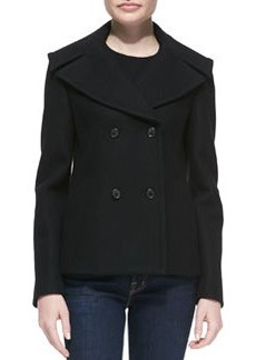 Michael Kors Melton Wool Double-Breasted Peacoat, Black