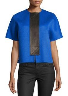 Michael Kors Melton Wool Leather Placket Jacket
