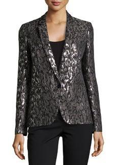 Michael Kors Metallic Brocade One-Button Jacket, Graphite