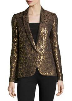 Michael Kors Metallic Brocade One-Button Jacket, Olive