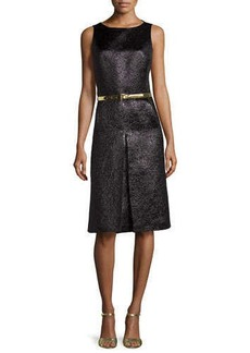 Michael Kors Metallic Center-Pleat Dress, Black