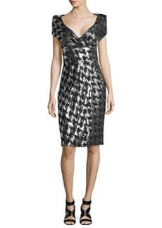 Michael Kors Metallic Houndstooth Jacquard Sheath Dress, Black/Silver