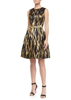 Michael Kors Metallic Ikat Jacquard Fit-And-Flare Dress, Black/Gold
