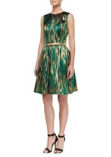 Michael Kors Metallic Ikat Jacquard Fit-And-Flare Dress, Emerald/Gold