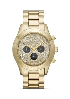 Michael Kors Mid-Size Gold Tone Layton Chronograph Glitz Watch, 43.5mm