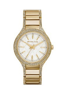 Michael Kors Mid-Size Golden Stainless Steel Kerry Quilted Three-Hand Glitz Watch