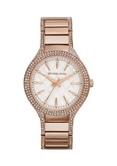Michael Kors Mid-Size Rose Golden Stainless Steel Kerry Quilted Three-Hand Glitz Watch