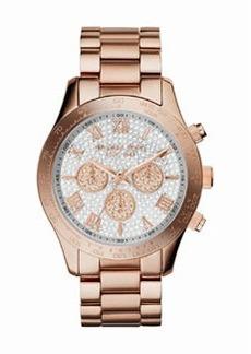 Michael Kors Mid-Size Rose Golden Stainless Steel Layton Glitz Watch