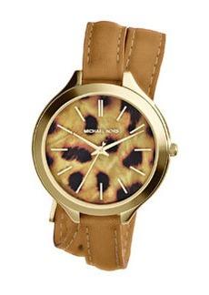 Michael Kors Mid-Size Tan Leather Runway Three-Hand Watch