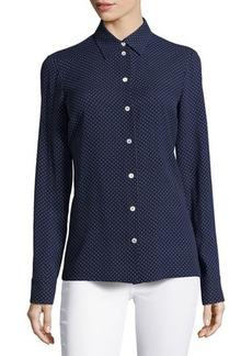 Michael Kors Mini Dot-Print Slim Shirt, Indigo/White