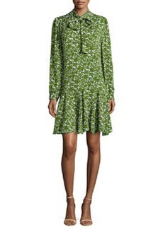 Michael Kors Mini Floral Georgette Bow-Neck Dress