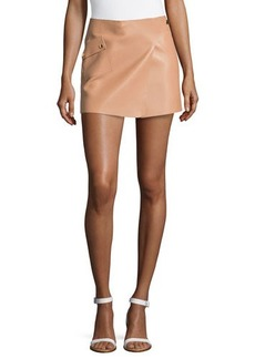 Michael Kors Mini Leather Tennis Skirt, Suntan