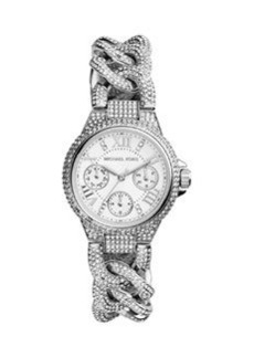 Michael Kors Mini Silver Color Stainless Steel Camille Three-Hand Twisted Glitz Watch
