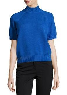 Michael Kors Mock-Neck Short-Sleeve Cashmere Sweater, Royal