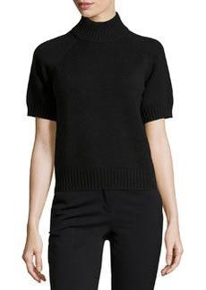 Michael Kors Mock-Neck Short-Sleeve Sweater, Black