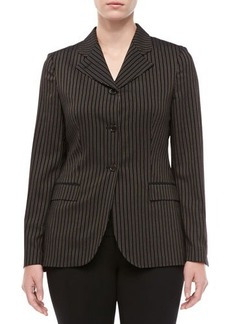 Michael Kors Morning Striped Wool Three-Button Jacket