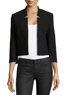 Michael Kors Notched-Collar Cropped Jacket, Black
