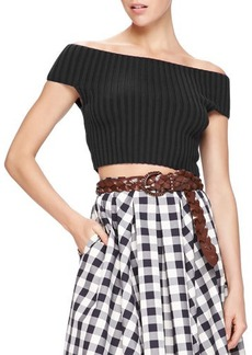 Michael Kors Off-The-Shoulder Crop Top  Off-The-Shoulder Crop Top