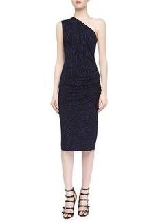 Michael Kors Off-The-Shoulder Draped Brushstroke Print Dress, Sapphire/Black