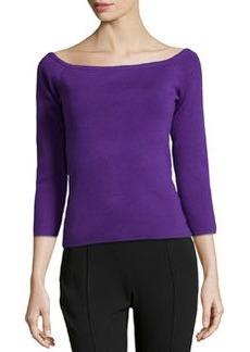 Michael Kors Off-the-Shoulder Knit Top, Grape