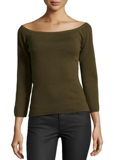 Michael Kors Off-the-Shoulder Knit Top, Olive