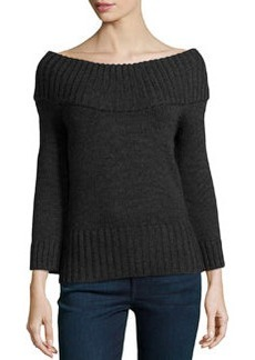 Michael Kors Off-the-Shoulder Ribbed Wool Sweater, Charcoal
