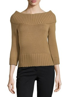Michael Kors Off-the-Shoulder Ribbed Wool Sweater, Chino