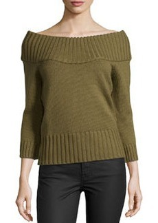 Michael Kors Off-the-Shoulder Ribbed Wool Sweater, Military