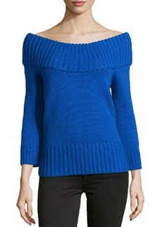 Michael Kors Off-the-Shoulder Ribbed Wool Sweater, Royal